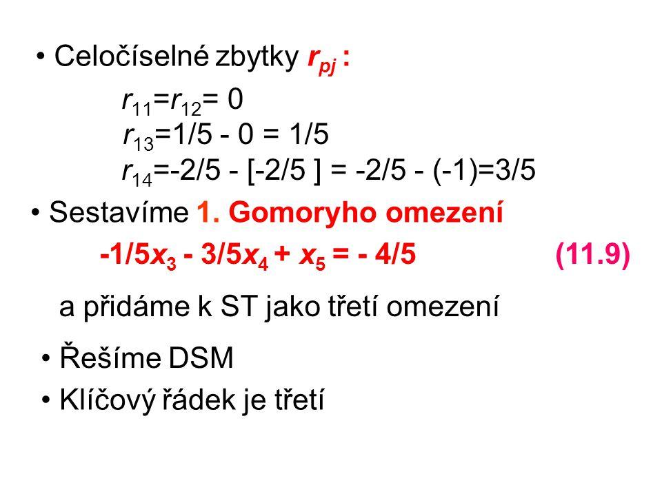 r11=r12= 0 r13=1/5 - 0 = 1/5 r14=-2/5 - [-2/5 ] = -2/5 - (-1)=3/5.